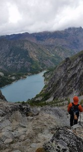 Beginning our 1800 ft. descent into Colchuck Lake