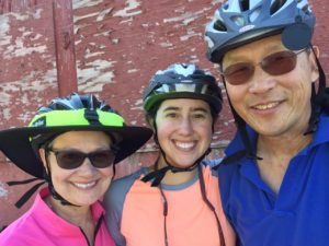 Mom, me, and Ken biking the Centennial Trail